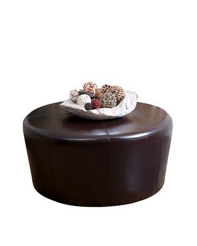 Abbyson Living Jersey Round Ottoman, Dark Truffle