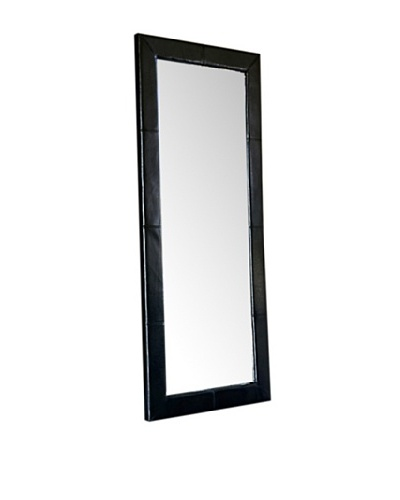 Abbyson Living Blaketon Leather Large Floor Mirror, Jet Black