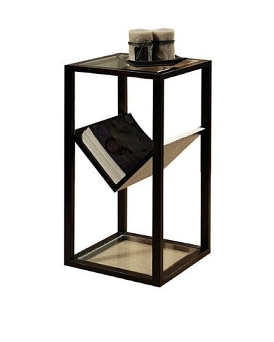 Abbyson Living Heritage Glass End Table Bookshelf
