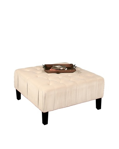 Abbyson Living Valentino Square Tufted Ottoman, Cream