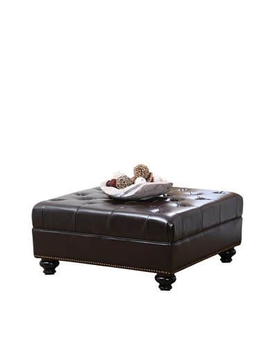 Abbyson Living Oreana Tufted Square Nailhead Trim Ottoman, Dark Brown