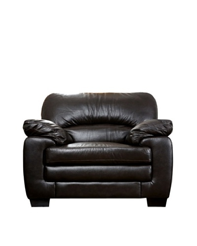 Abbyson Living Lalia Italian Leather Armchair, Dark Truffle