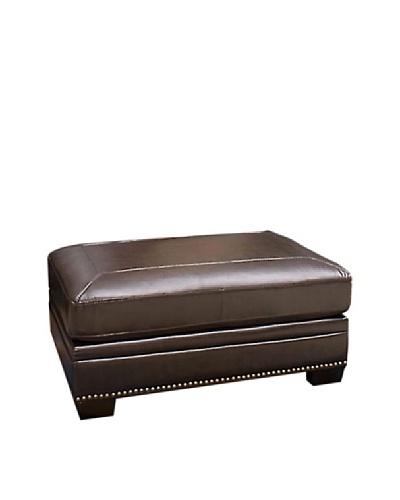 Abbyson Living Foura Italian Leather Ottoman, Dark Truffle