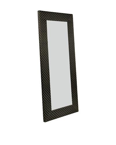 Abbyson Living Lindsey Black Pattern Fabric Floor Mirror