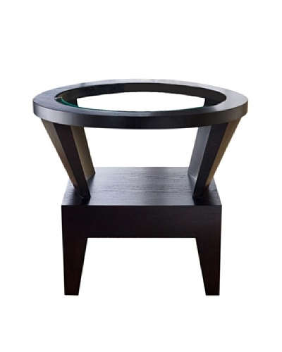 Abbyson Living Caslee Round Glass End Table, Rich Caramel