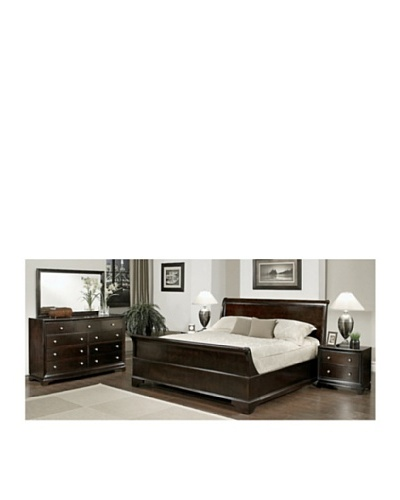 Abbyson Living Capriva 5-Piece Sleigh Queen-Size Bedroom Set, Dark Truffle