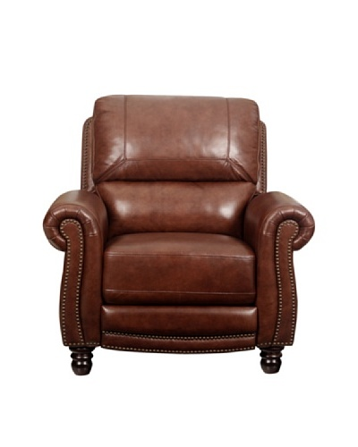 Abbyson Living Aron Hand Rubbed Pushback Leather Recliner, Two-Tone Brown