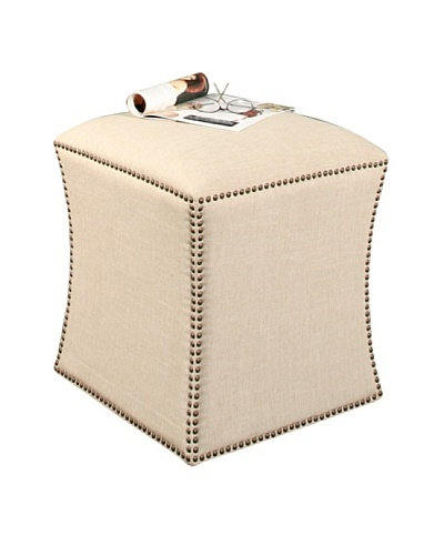 Abbyson Living Berly Nailhead Trim Ottoman, Cream