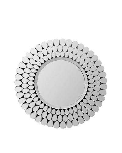 Abbyson Living Cadence Round Wall Mirror, Silver