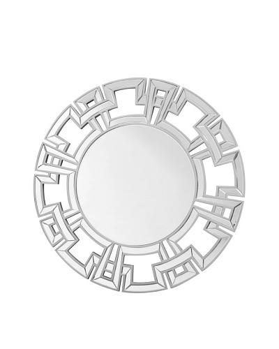 Abbyson Living Zeba Silver Round Wall Mirror, Silver