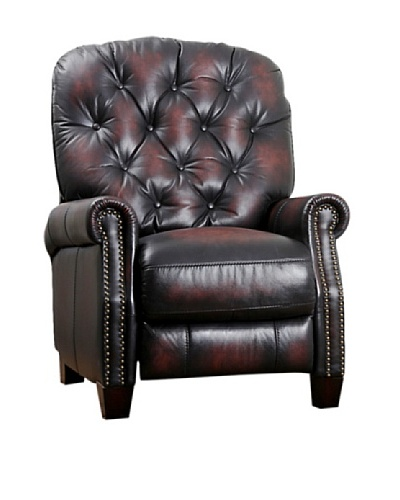 Abbyson Living Zeena Hand Rubbed Leather Pushback Recliner, Brown