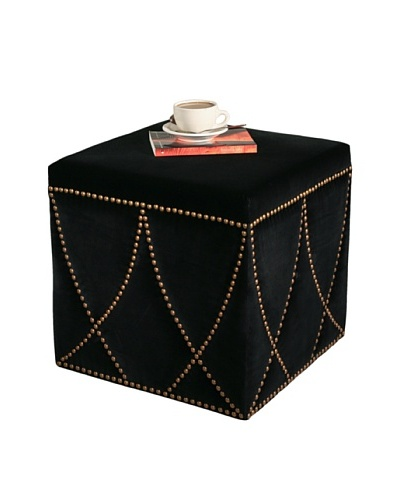 Abbyson Living Avis Square Nailhead Trim Ottoman, Black