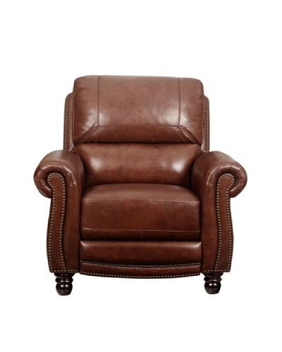 Abbyson Living Baron Push-Back Leather Recliner, Two-Tone Brown
