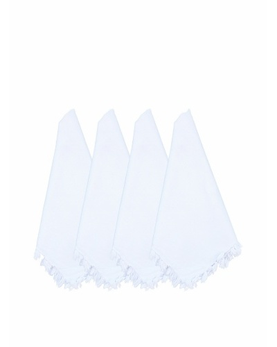Abigail's Set of 4 South Seas Napkin with Fringe, White