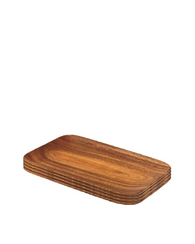 Acaciaware Set of 4 Rectangle Small Serving Trays
