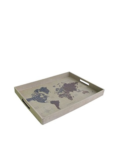 Accents by Jay Rectangle Tray with Handles, Modern World Burlap
