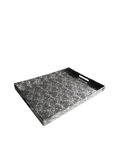 Accents by Jay Animal/Moiré Print Rectangular Tray with Handles, Black/Silver