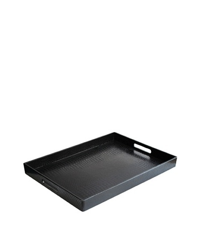 Accents by Jay Alligator Rectangular Tray with Handles, Black