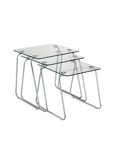 Adesso Set of 3 Slice Nesting Tables [Chrome]