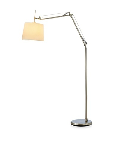 Adesso Architect Arc Lamp, Satin Steel