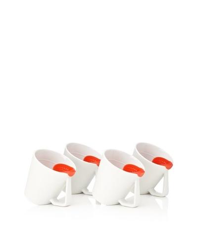 AdNArt Set of 4 Tea Tilt Mugs, Red, 14-Oz.