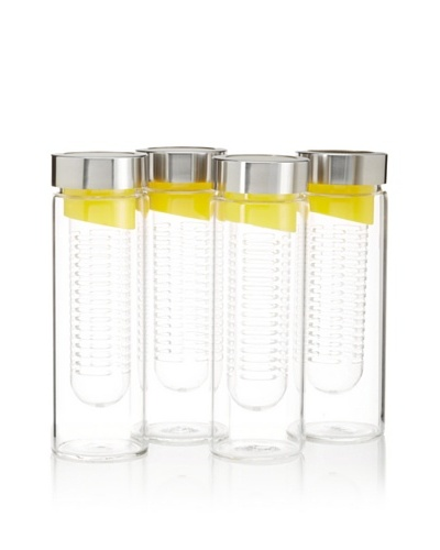 AdNArt Set of 4 Flavour-It Fruit Infuser Glass Water Bottles, Yellow/Silver, 20-Oz.As You See