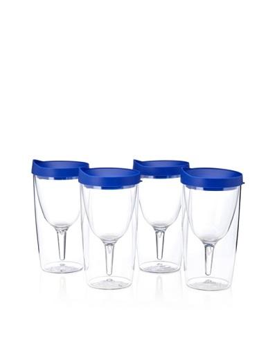 AdNArt Set of 4 Vino 2 Go Cups, Blue, 10-Oz.