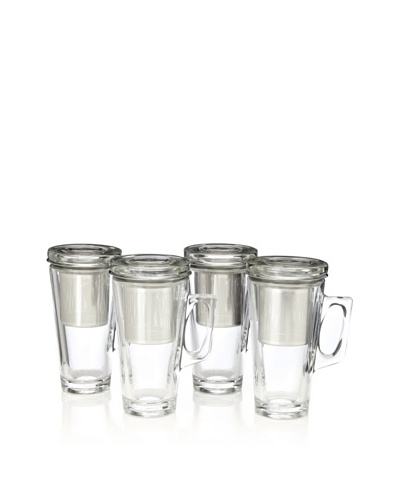AdNArt Set of 4 Tea Party Mugs, Clear Glass, 15-Oz.
