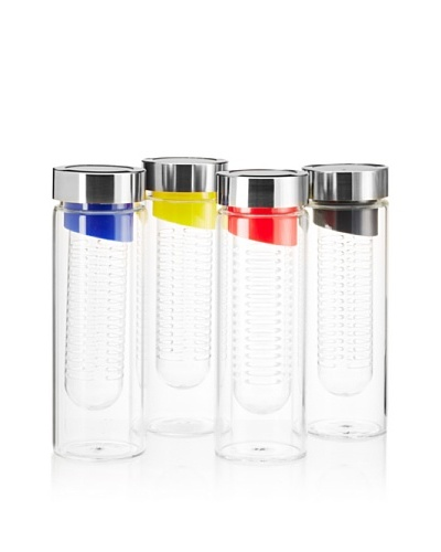 AdNArt Set of 4 Flavour-It Fruit Infuser Glass Water Bottles, Silver, 20-Oz.