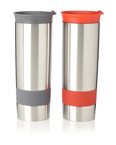 AdNArt Set of 2 The Hot Press Mugs, Grey/Red, 16-Oz.