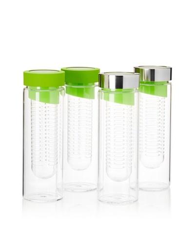 AdNArt Set of 4 Flavour-It Fruit Infuser Glass Water Bottles, Green, 20-Oz.