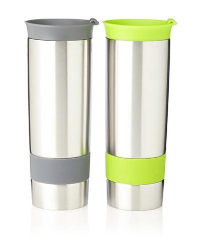 AdNArt Set of 2 The Hot Press Mugs, Grey/Lime, 16-Oz.