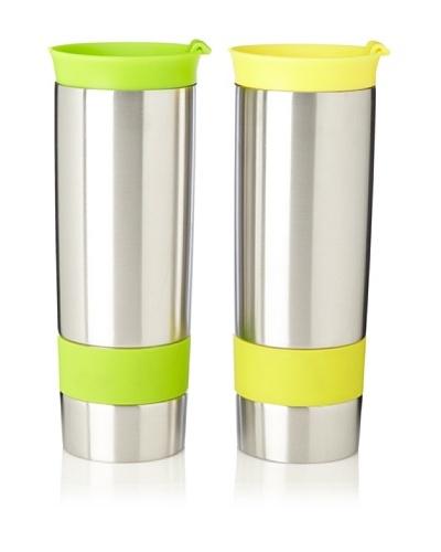 AdNArt Set of 2 The Hot Press Mugs, Yellow/Lime, 16-Oz.