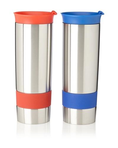 AdNArt Set of 2 The Hot Press Mugs, Red/Blue, 16-Oz.