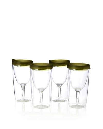 AdNArt Set of 4 Vino 2 Go Cups, Green, 10-Oz.