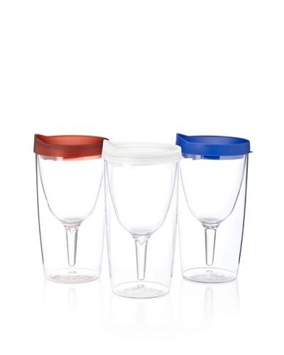 AdNArt Set of 3 Vino 2 Go Cups, Patriot Pack, 10-Oz.