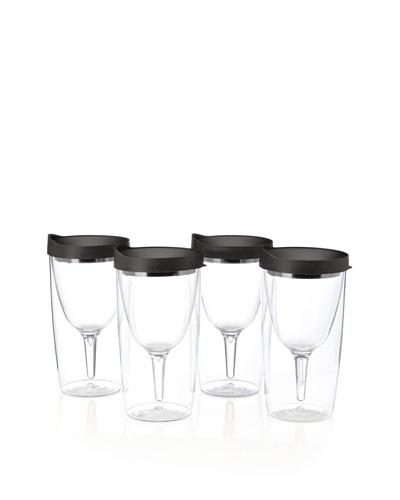 AdNArt Set of 4 Vino 2 Go Cups [Black]