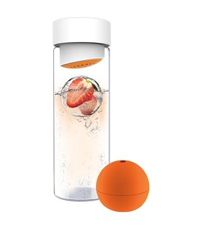 AdNArt Glass Water Bottle with Fruit Iceball Maker [Orange]