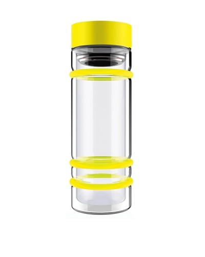 AdNArt Bumper Bottle Double-Wall Glass Bottle with Tea Infuser and Bumpers [Yellow/Yellow]