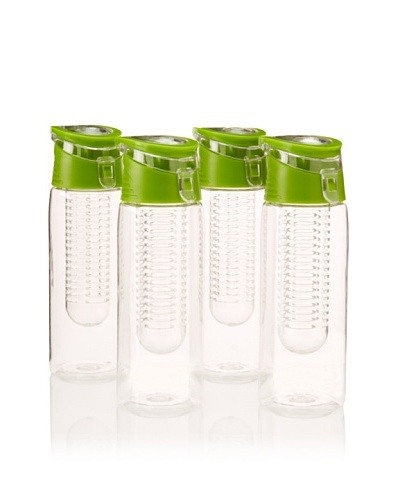 AdNArt Set of 4 Flavour-It Fruit Infuser Tritan Water Bottles, Green, 20-Oz.
