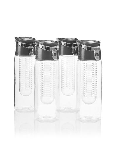 AdNArt Flavour-It Fruit Infuser Tritan Water Bottle, Black, 20-Oz. Set of 4As You See