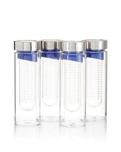 AdNArt Set of 4 Flavour-It Fruit Infuser Glass Water Bottles, Blue/Silver, 20-Oz.