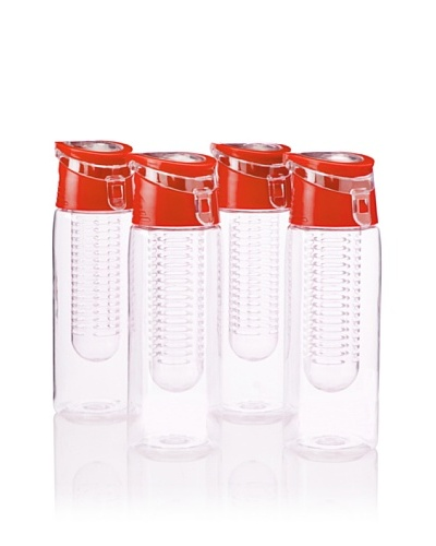 AdNArt Flavour-It Fruit Infuser Tritan Water Bottle, Red, 20-Oz. Set of 4