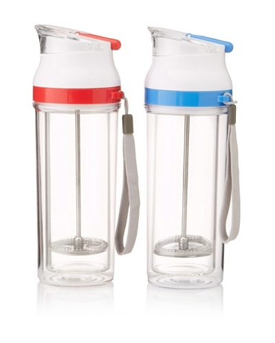 AdNArt Set of 2 Modern Press Travel Mugs, Red/Blue, 16-Oz.