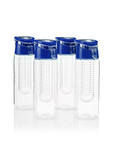 AdNArt Flavour-It Fruit Infuser Tritan Water Bottle, Blue, 20-Oz. Set of 4As You See