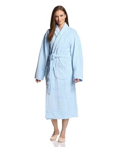 Aegean Apparel Women's Textured Stripe Long Robe