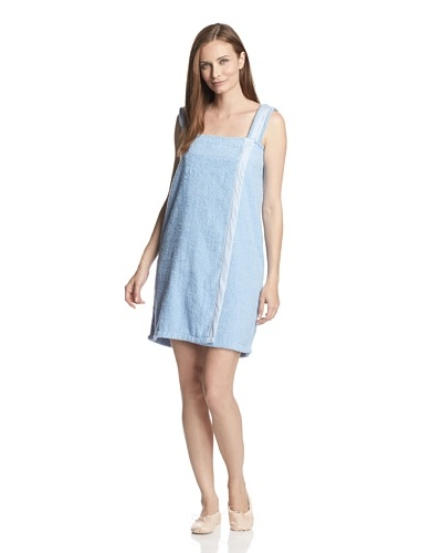 Aegean Apparel Women's Terry Loop Shower Wrap with Gingham Trim