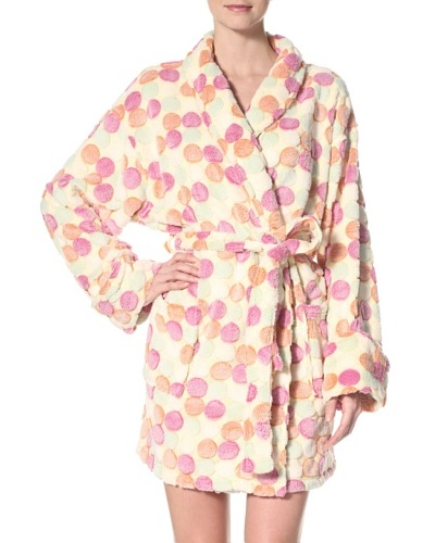 Aegean Apparel Women's Pom Pom Plush Jacquard Robe