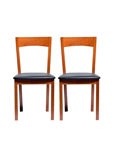 Aeon Set of 2 Euro Home Collection Plymouth Beechwood Dining Chairs, Cherry