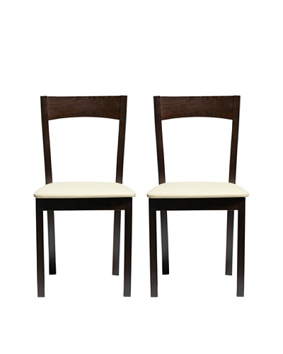 Aeon Set of 2 Euro Home Collection Plymouth Beechwood Dining Chairs, Coffee